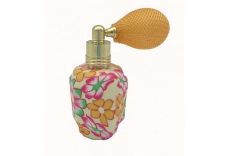 Frasquito Ceramica 15 ml rellenable  con perfumador pera  color amarillo-naranja