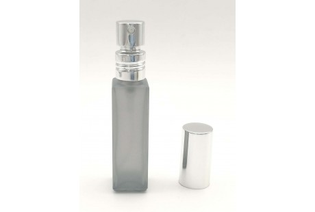 Frasco con  Pulverizador Aluminio Gris rellenable 9 ml vacio