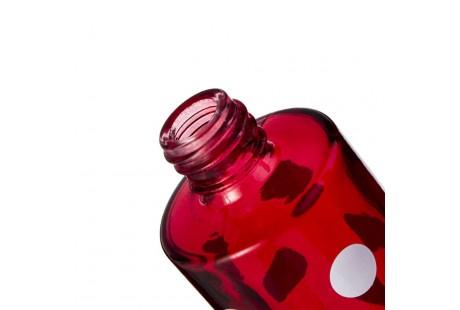 Frasco Lujo de lunares color rojo rellenable con pulverizador incluido plata 30 ml